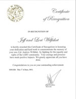 Certificate of Recognition from Mayor of Sacramento
